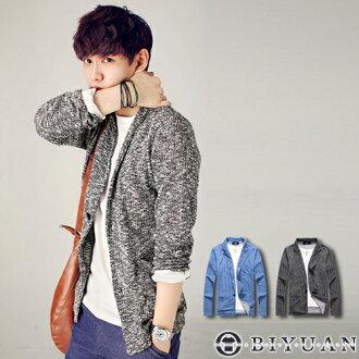 針織西裝外套【F50107】OBI YUAN混色劍領開襟單扣罩衫外套 共2色