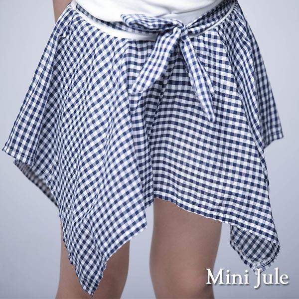 《MiniJule童裝》褲裙格紋不規則下擺綁帶褲裙(寶藍)