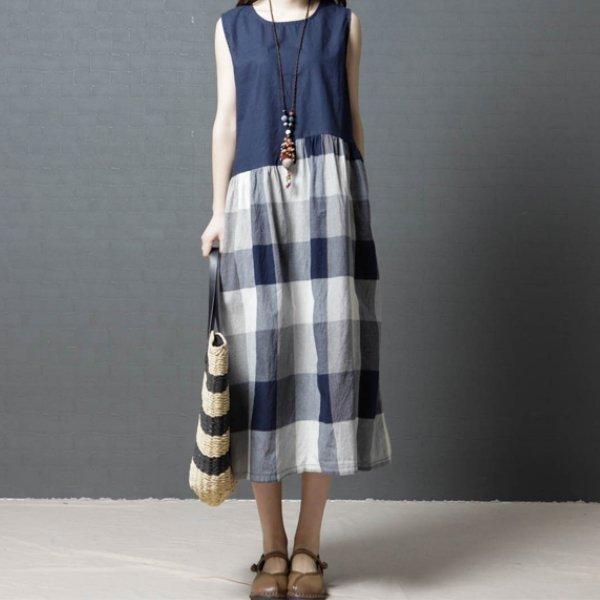 *漂亮小媽咪*韓系原創文藝棉麻薄款格紋無袖洋裝長裙孕婦裝長洋裝D8120
