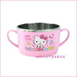 asdfkitty可愛家☆KITTY粉水玉防燙304不鏽鋼有把手鋼碗XL號/大湯杯/湯碗-韓國製
