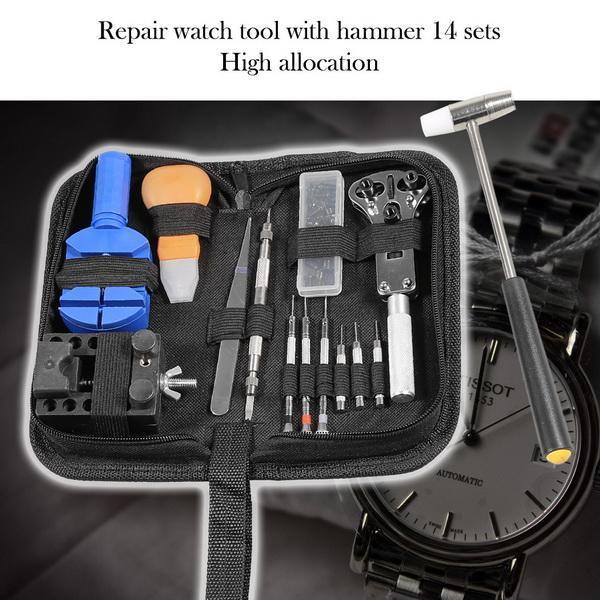 14pcs Watch Repair Tool Kit Case Opener Link Spring Bar Band Pin Remover Hammer 2