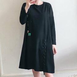 長版上衣--時尚甜美快閃字母印花個性開衩編織圓領長袖上衣(黑L-3L)-X341眼圈熊中大尺碼