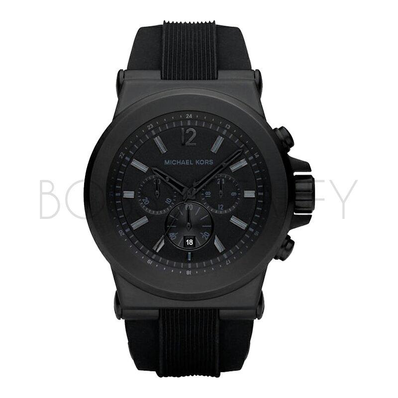 MK8152 MICHAEL KORS 黑色系矽膠錶帶大錶面三眼手錶