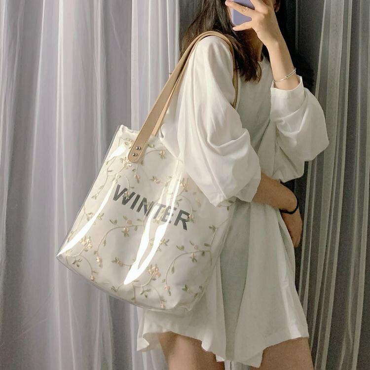 手提包包女2020夏季新款潮韓版百搭側背包大容量托特包果凍透明包