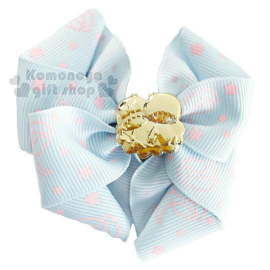 〔小禮堂〕雙子星  緞帶彈力髮束《藍.金坐姿.星星.蝴蝶結》髮圈
