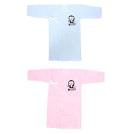 PUKU藍色企鵝 - 反袖口紗布長肚衣 60cm (藍/粉)