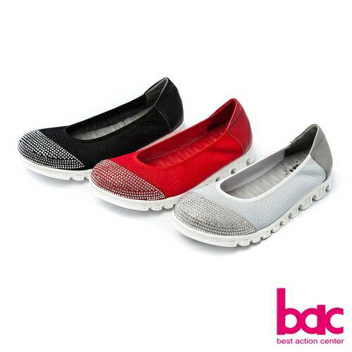 【bac】運動時尚-鞋頭燙鑽拼接透氣網狀布料休閒鞋-紅色