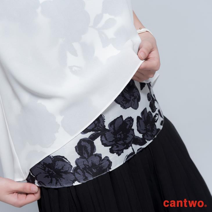 cantwo透視風印花假兩件雪紡上衣(共二色) 4