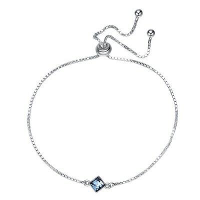 925純銀手鍊水晶手環-簡約方形深藍優雅聖誕節生日情人節禮物女飾品73qh78【獨家進口】【米蘭精品】