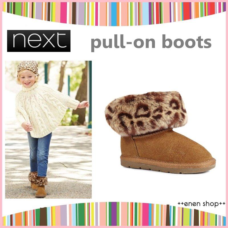 Enen Shop @NEXT 小女孩 fashion咖啡色豹紋懶人靴/靴子 #692959 ∥ UK9/UK10