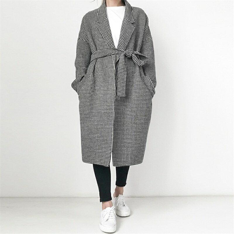毛呢大衣羊毛外套-千鳥格繫帶寬鬆長版女外套73wb33【獨家進口】【米蘭精品】 0