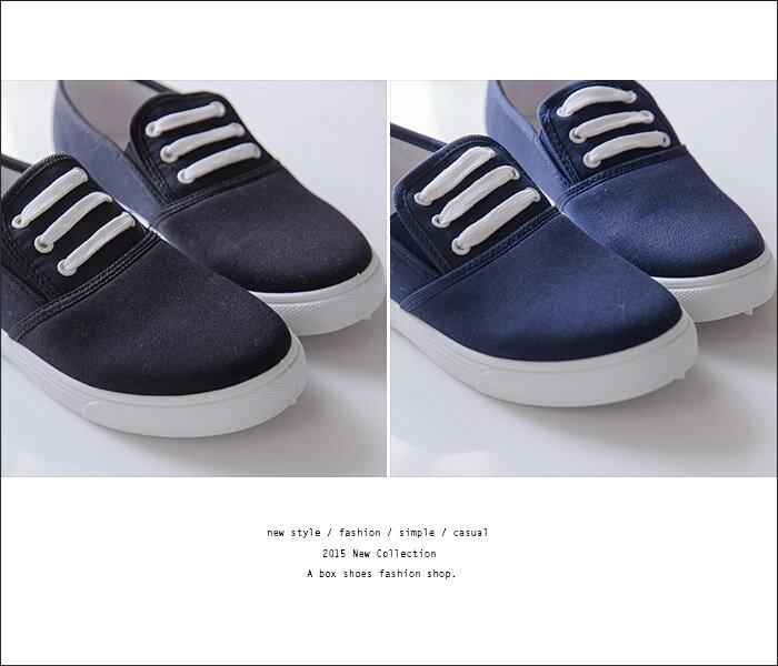 格子舖*【ANDW1526】基本款百搭韓版 造型鞋帶 休閒帆布鞋 懶人鞋便鞋 4色 2