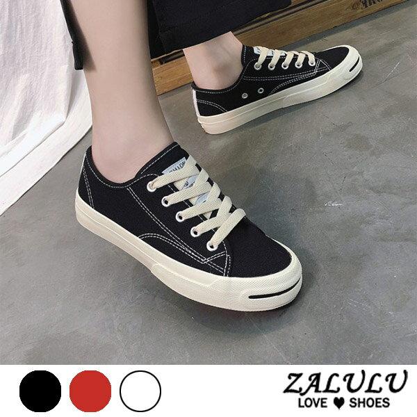ZALULU愛鞋館7DE168微笑素面綁帶學院風帆布布鞋-偏小-黑紅白-36-42