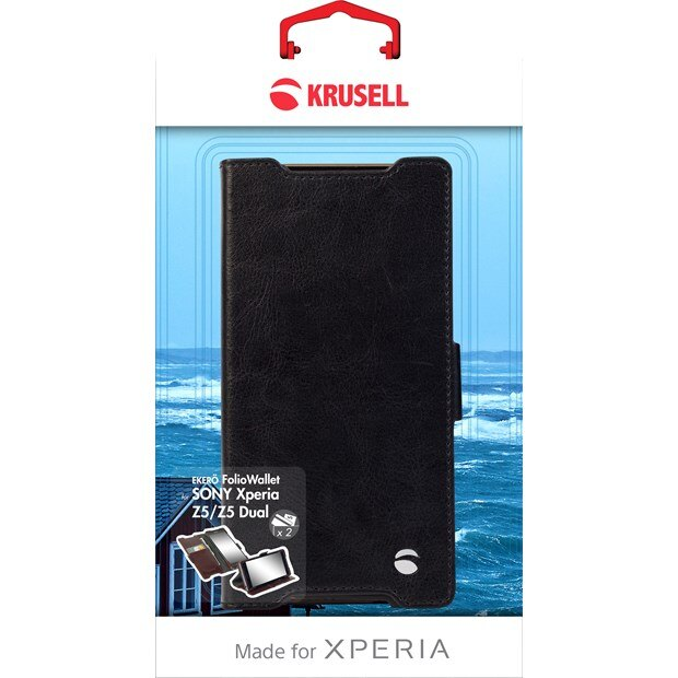 (贈專用保貼+支架)Krusell皮革側掀皮套/SONY Xperia Z5/側翻套/手機殼/手機皮套/可立皮套【馬尼通訊】