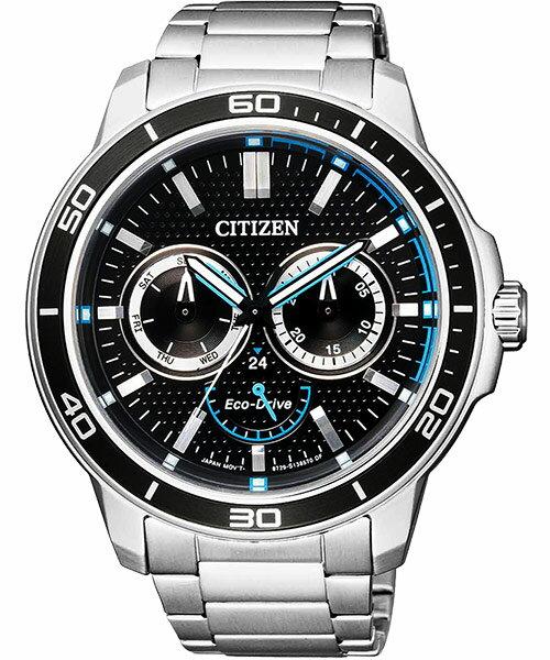 CITIZEN星辰BU2040-56E競速酷藍多功能光動能腕錶/黑面45mm