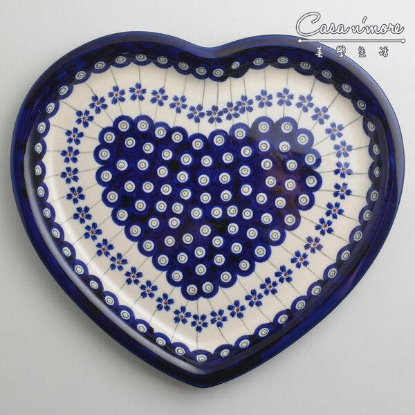 波蘭陶藏青小卉系列愛心造型餐盤陶瓷盤菜盤水果盤點心盤波蘭手工製