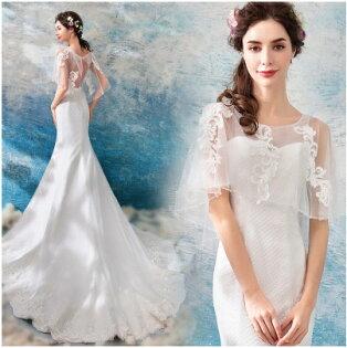 天使嫁衣:天使嫁衣【AE562】蕾絲釘珠披肩美臀收腰織網白紗禮服˙預購訂製款