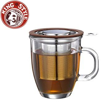 金時代書香咖啡 Tiamo 亮彩附蓋不鏽鋼濾網 玻璃馬克杯445ml 咖啡色