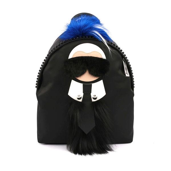 【FENDI】Karlito Backpack老佛爺尼龍後背包(大款)(黑/藍) 7VZ016 9Q4 F05FW