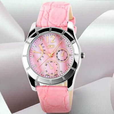 德國高硬度玻璃工藝彩貝防水真皮帶女錶十天預購+現貨