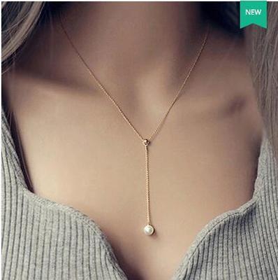 50^%OFF SHOP~IU022453NL~ 優雅簡約珍珠裝飾鎖骨鏈氣質頸鏈項鍊