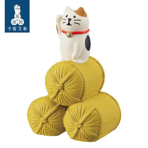 Decole 日本開運小物 / 擺飾道具 / 小玩偶 / 公仔 -  Concombre 米袋上的三毛貓 / 好運大豐收 ( ZCB-26363 ) 喵星人 現貨