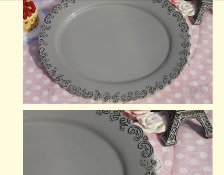 歐式橢圓形浮雕圖案陶瓷水果盤 點心盤 零食盤 糕點盤 糖果盤盤子