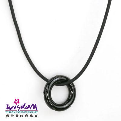 黑甜甜圈 鋼飾 男墜 情人節 生日 威世登 珠寶 送精緻黑皮繩