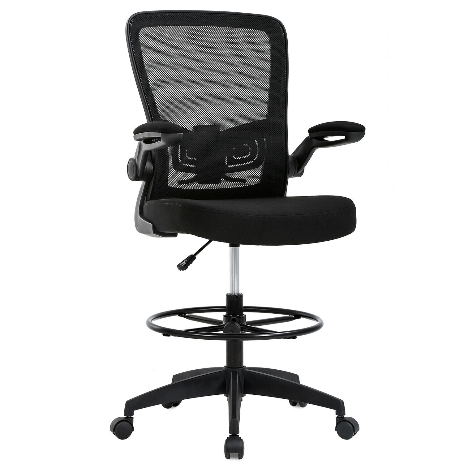 Strange Drafting Chair Tall Office Chair Adjustable Height With Lumbar Support Flip Up Arms Footrest Mid Back Task Mesh Desk Chair Computer Chair Drafting Creativecarmelina Interior Chair Design Creativecarmelinacom