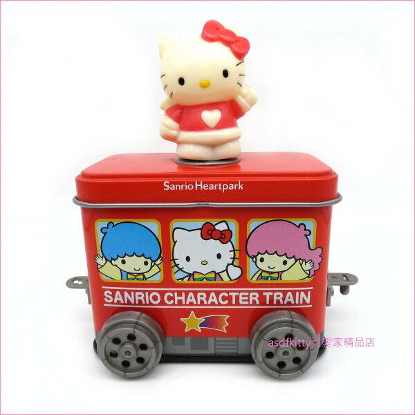 asdfkitty可愛家☆展示品出清(有泛黃)-KITTY可連結車車造型鐵製收納盒-不含內容食品-日本製