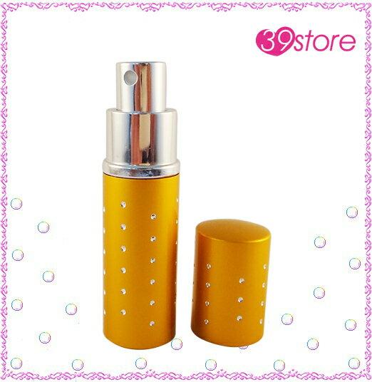 [ 39store ] 10ml 電化鋁香水分裝瓶 玻璃內瓶 可重複填充 圓形 水鑽裝飾