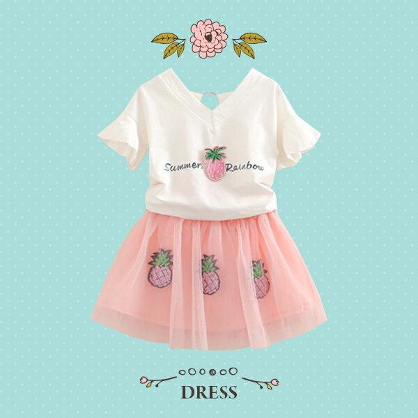 鳳梨立體圖案V領短袖上衣+紗網短裙0410(粉)【K12305】