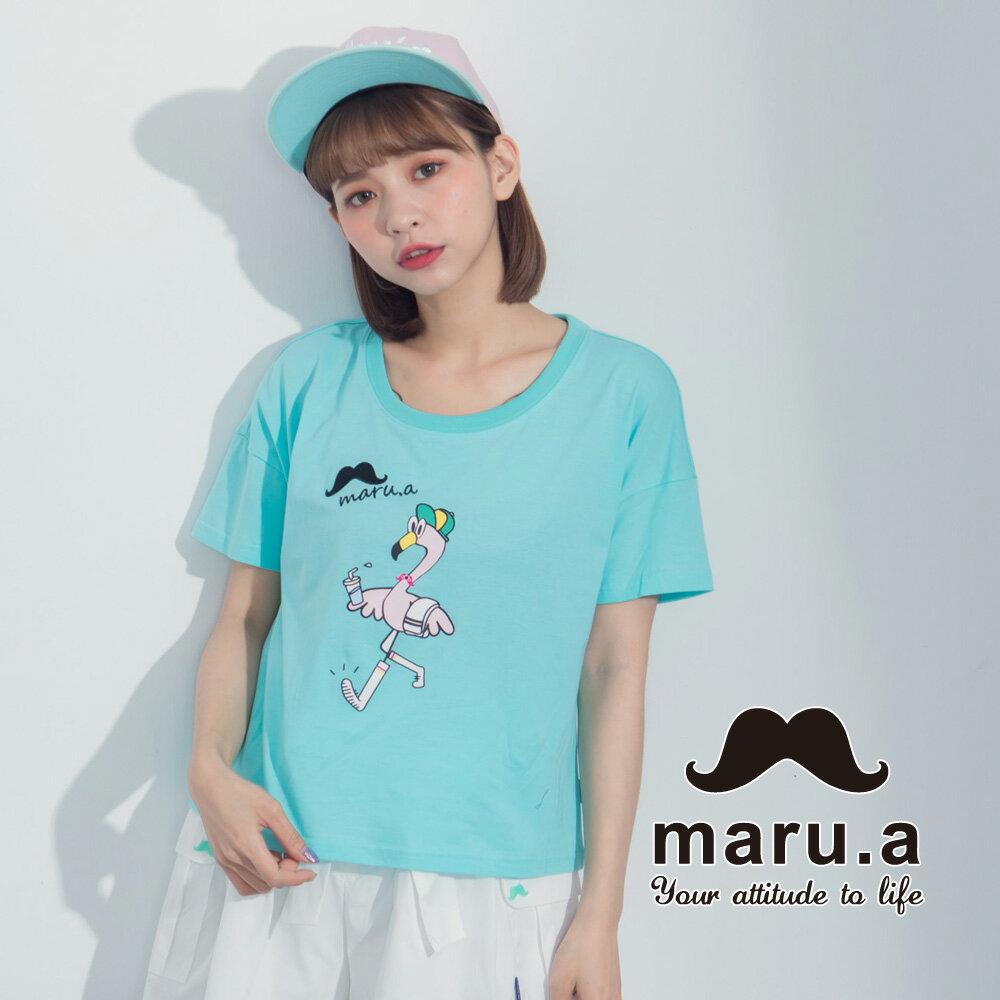 【maru.a】手繪紅鶴印花T-shirt7321237 4