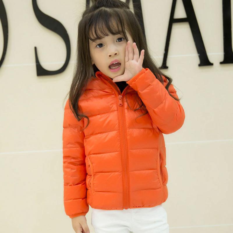 兒童羽絨服輕薄款純色連帽羽絨服寶寶冬季男童女童裝外套1入