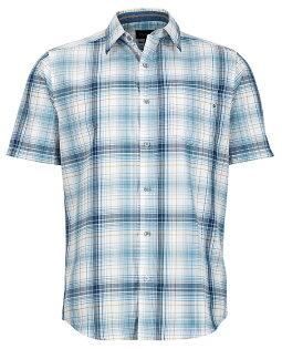 【Marmot土撥鼠美國】Notus短袖襯衫快乾透氣戶外襯衫格子襯衫藍色男款/53000