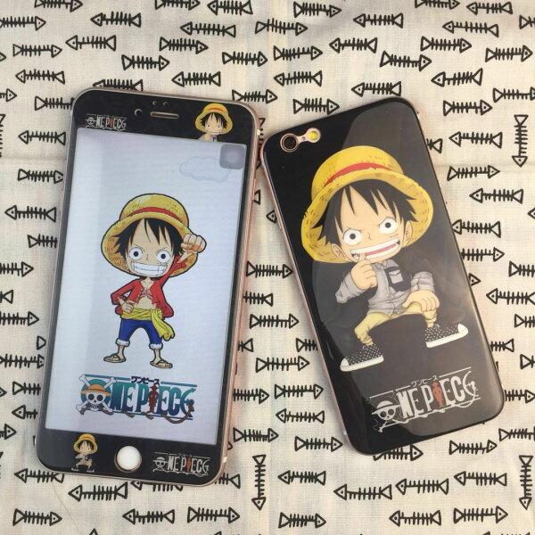 現貨iPhone876滿版i8保護貼航海王雙面3D全屏卡通i7玻璃貼軟邊背膜貼i6保護膜【GP美貼】
