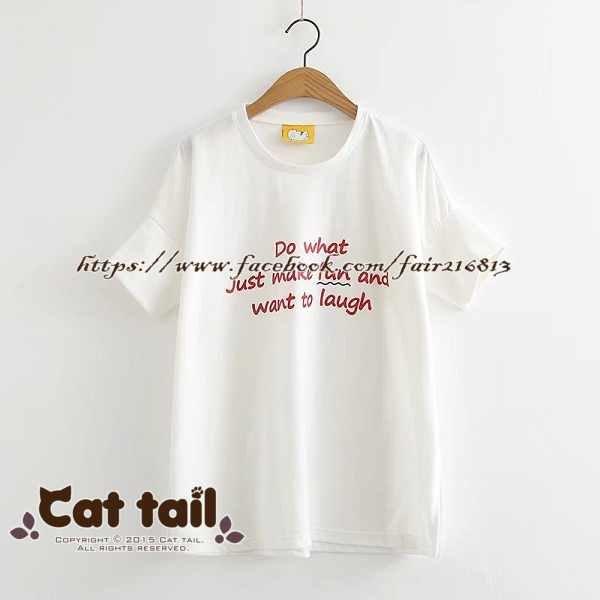 《貓尾巴》TS-0838文藝簡約字母印花短袖T恤(森林系日系棉麻文青清新)