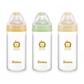 【淘氣寶寶】小獅王 辛巴 Simba 超輕鑽寬口直圓玻璃小奶瓶 180ml (S6909)