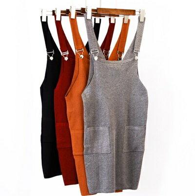 吊帶短裙 針織半身裙~俏皮可愛口袋裝飾女裙子5色73ea55~ ~~米蘭 ~