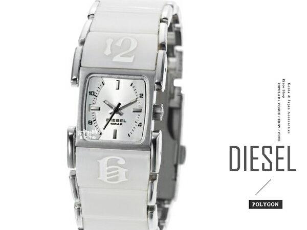 【完全計時】手錶館│DIESEL 銀面鋼帶女錶 個性時尚表露無遺 DZ5043 手環錶 造型數字顯示