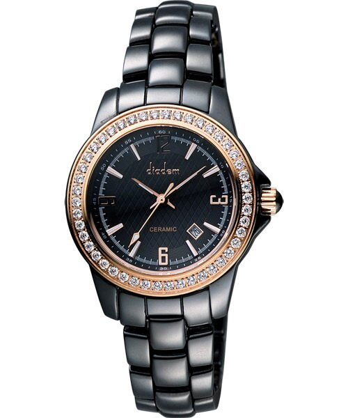 大高雄鐘錶城 Diadem 黛亞登  8D1407-551RGD-D 晶鑽典雅黑陶時尚腕錶/ 黑面35mm