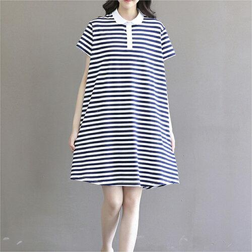條紋寬鬆短袖連身裙 (條紋M~2XL) - ORead 自由風格