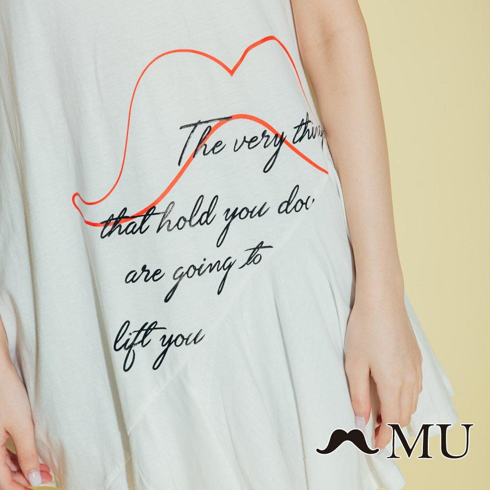 【MU】鬍子印花長版裙襬上衣(2色)8321362 2