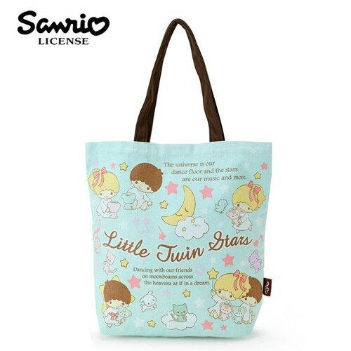 粉綠款【日本進口】雙子星 KIKILALA 帆布 肩背包 托特包 手提袋 肩揹提袋 三麗鷗 Sanrio - 439101