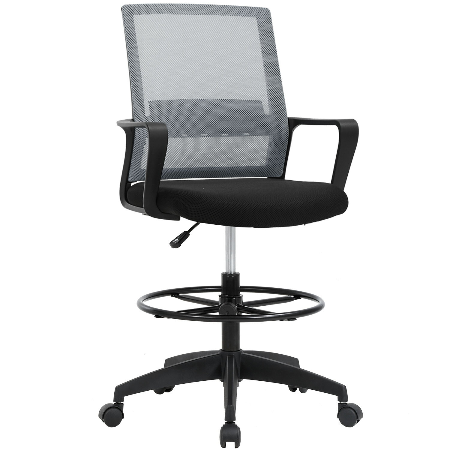 Office Chair Desk Chair Computer Chair Adjustable Height with Lumbar  Support Arms Footrest Mid Back Swivel Rolling Mesh Drafting Chair for  Adults