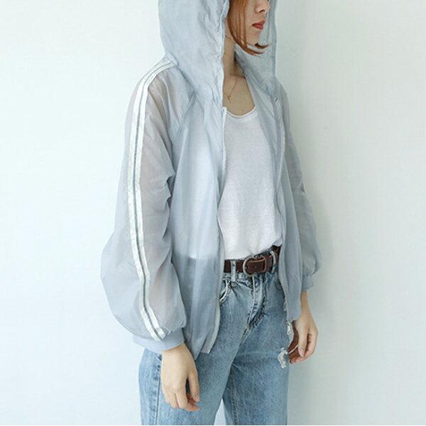 防曬外套袖織帶運動連帽外套罩衫【88-15-8561-0002-18】ibella艾貝拉