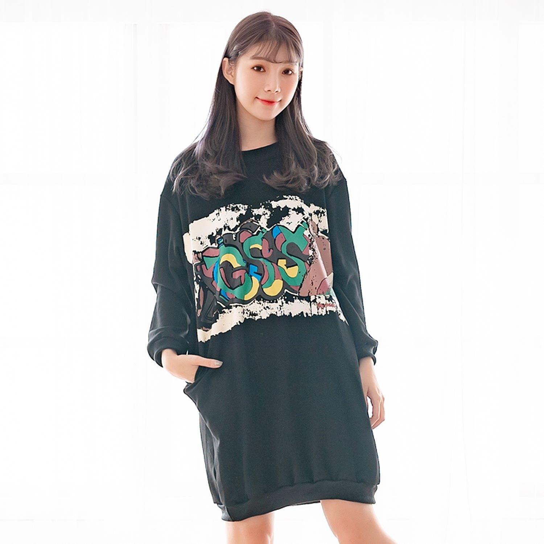 休閒洋裝--保暖舒適塗鴉印花口袋羅紋寬鬆修身加絨長版連衣裙(黑XL-4L)-A369眼圈熊中大尺碼 0