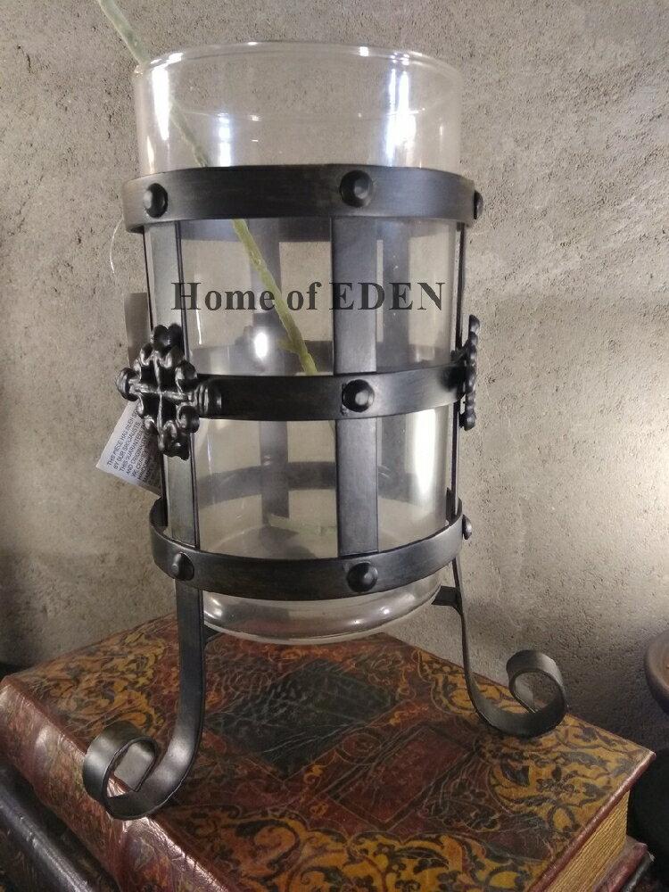 【EDEN】Vintage復古意大利鄉村做舊鐵藝玻璃花器&水培植物花瓶1入