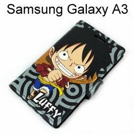 海賊王側翻支架皮套 [R03] Samsung Galaxy A3 航海王 魯夫【台灣正版授權】