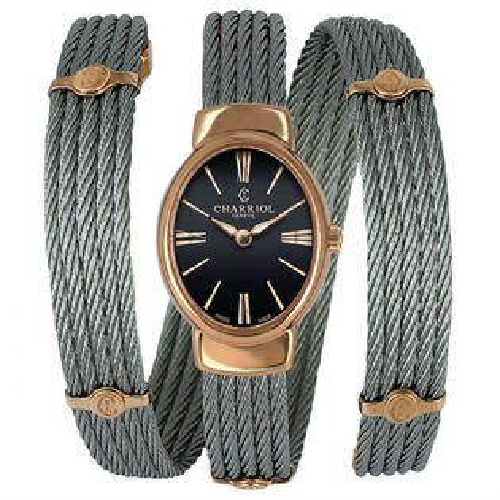 CHARRIOL夏利豪(TWOP510O03)環繞鋼索玫瑰金時尚腕錶黑面28*30mm